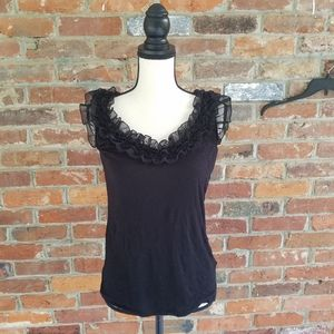 H and M tank top large black rifles frilly